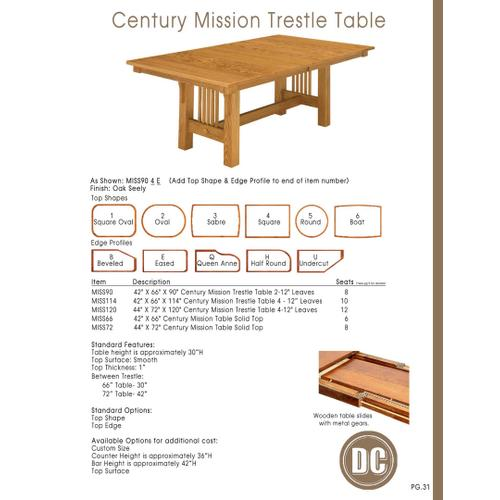 Door County Furniture - Century Mission Table