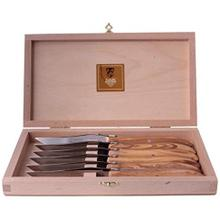 Claude Dozorme Stainless Steel 6-Piece Steak Knife Set with Olive Wood Handle