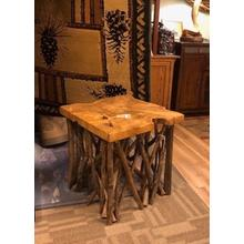 Live-edge Teak accent tables.