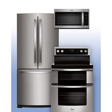 """See Details - WHIRLPOOL - Save on this 30"""" French Door Refrigerator & Electric Double-Oven Range 3 pc package."""