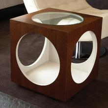 See Details - Charmed Circle Table-Walnut & Ivory