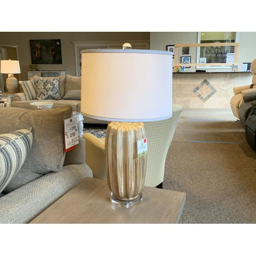 Glass Table Lamp with White Drum Shade