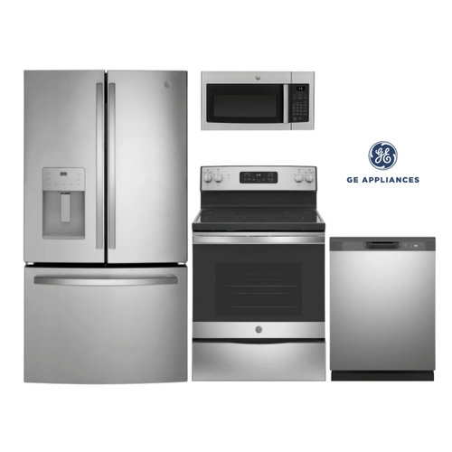 GE 4 Piece French Door Kitchen Package in Stainless Steel