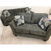 Stanton Sofa & Loveseat in Brinkley Tobacco, Pillows in Chrysanthemum Granite
