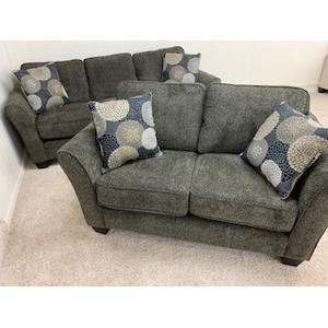 Stanton Sofa & Loveseat in Brinkley Tobacco, Pillows in Chrysanthemum Granite