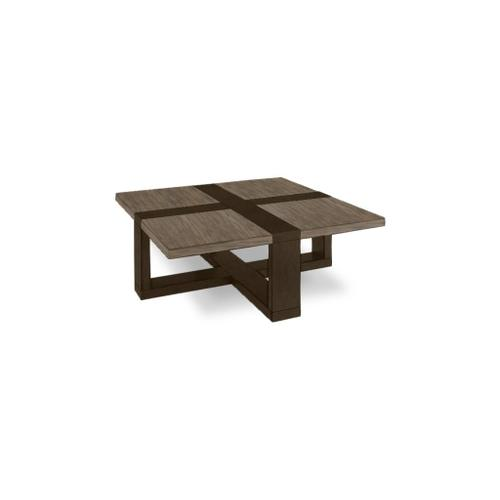 "Skyline Maple 46"" Square Cocktail Table with Steel Top and Dark Chestnut Base"
