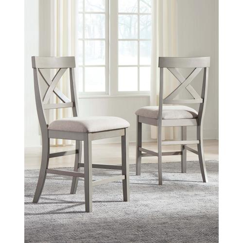 Parellen - Gray - 5 Pc. - Square Counter Table & 4 Upholstered Barstools