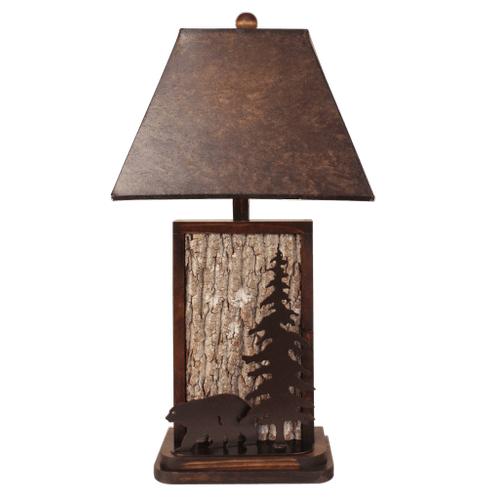 Coast Lamps - Aspen/Dark Bronze Poplar Bark with Iron Bear & Tree Accent