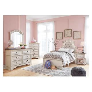 Realyn Chipped White Twin Bedroom Set