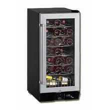 "Model WC3200BG 32 Bottle Wine Cooler ""Designed for Built-in Use"" - Reversible Tempered Double Glass Door - Color: Black With Brushed Chrome Color Frame"