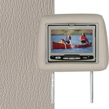 Dual Custom Headrest System with Built-in DVD Player. Cadillac SRX, CTS, STS. The Color is Light Neutral.