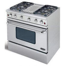"36"" SS Pro-Style Gas Range with 4 Sealed Burners and 18,000 BTU Grill"