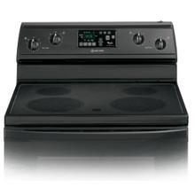 REFURBISHED Black-on-Black 30-Inch Self-Cleaning Freestanding Electric Ceramic Glass Range. (This is a Stock Photo, actual unit (s) appearance may contain cosmetic blemishes.  Please call store if you would like actual pictures).  This unit carries our 6 month warranty, MANUFACTURER WARRANTY and REBATE NOT VALID with this item. ISI 41431