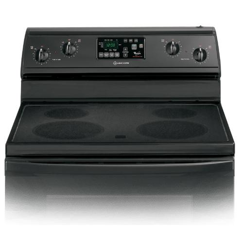 Whirlpool - REFURBISHED Black-on-Black 30-Inch Self-Cleaning Freestanding Electric Ceramic Glass Range.  (This is a Stock Photo, actual unit (s) appearance may contain cosmetic blemishes.  Please call store if you would like actual pictures).  This unit carries our 6 month warranty, MANUFACTURER WARRANTY and REBATE NOT VALID with this item. ISI 40154