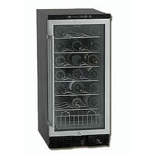 "Model WC3201D 32 Bottle Wine Cooler ""Designed for Built-in Use"" - Reversible Tempered Double Glass Door - Electronic Display Color: Black With Brushed Chrome Color Frame"