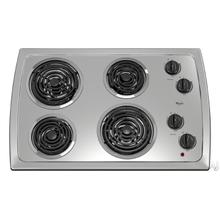 "Whirlpool 30"" White Coil Electric Cooktop with 4 Heating Elements"