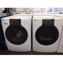 Refurbished (Gas) White Kenmore Elite White Front Load Washer Dryer Set . Please call store if you would like additional pictures. This set carries our 6 month warranty, MANUFACTURER WARRANTY AND REBATES ARE NOT VALID (Sold only as a set)