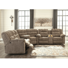 Workhorse - Cocoa - Reclining Sofa, Wedge & Double Reclining Loveseat with Console Sectional