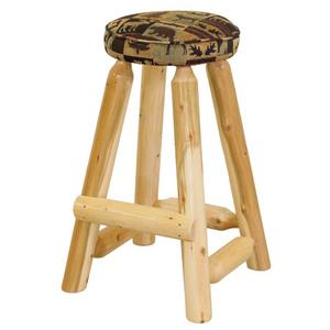 "W390  30"" Round Barstool with Upholstered Seat"