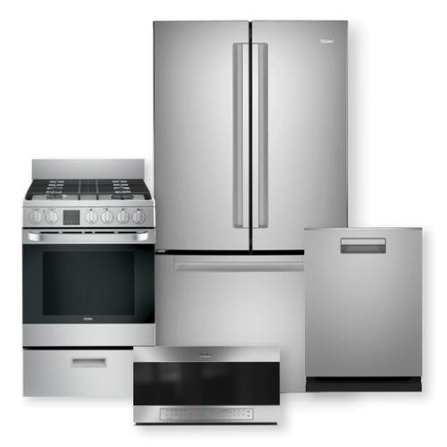 """HAIER 27 Cu. Ft. French Door Refrigerator & 24"""" Gas Free-Standing Range With Convection Package"""