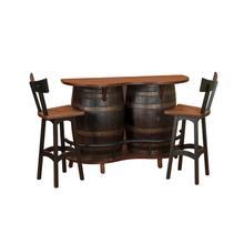 Barrel Bar with 2 Bar Chairs