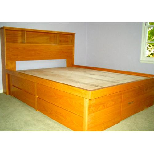 """Shaker Style Double High Chestbed with 9"""" Bookcase Headboard"""