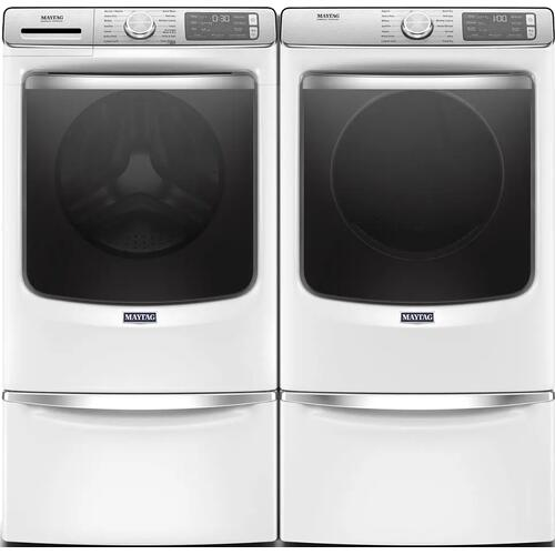 MAYTAG Extra Power 5.0 cu. ft. Front Load Washer & 7.3 cu. ft. Electric Dryer with pedestals