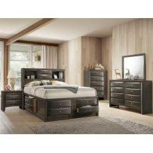 Emily- Gray Qn Bookcase Storage Bed