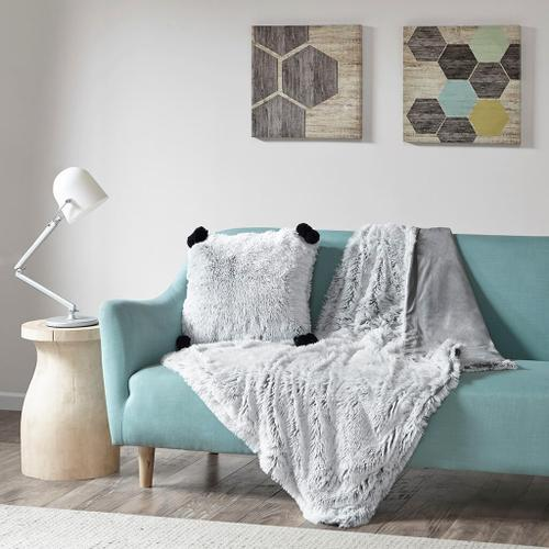 Emma Shaggy Grey Faux Fur Throw (50w x 60l)