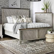 See Details - Bear Creek Farmhouse Queen Panel Bed with Chevron Headboard