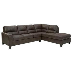 "Ashley Navi Sectional in Smoke.  Corner chaise 39"" x 37"" x 91.  One-armed sofa 39"" x 79"" x 38."