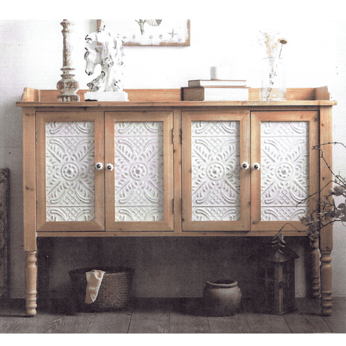 Medallion Lighting & Home Furnishings - WINONA Reclaimed Rustic Pine & White Finish Wood Cabinet       (AFN402NS,53118)