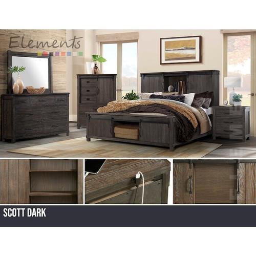 Elements - Scott Dark Bedroom - Queen Bedroom - Bed, Dresser, Mirror