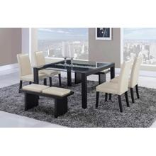 DINING TABLE, CHAIRS, AND BENCH