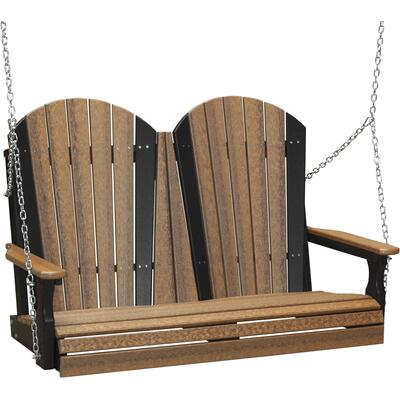 Adirondack Swing 4' Premium Antique Mahogany and Black