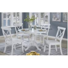 See Details - 42 Inch Round Table & 4 Side Chairs- White