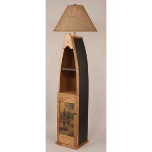 Wooden Boat Floor Lamp w/ Cabinet Door