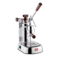 See Details - La Pavoni Professional 16-Cup Espresso Machine, Chrome and Wood
