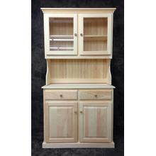 See Details - Maine Made 074/075 Double Buffet & Hutch 40.5W X 77H X19D Pine Unfinished