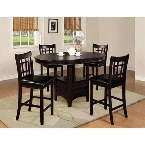 Crown Mark - CROWNMARK 2795B Dark Finish Hartwell 4-piece Counter Height Dinette - Table With 4 Chairs