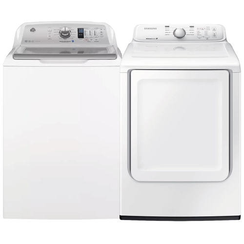 White 4.6 cu. ft. Washer w/ Stainless Steel Basket & 7.2 cu. ft. Electric Dryer with Moisture Sensor- Minor Case Imperfections