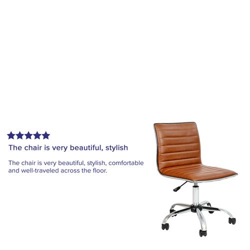 Gallery - Low Back Designer Armless Brown Ribbed Swivel Task Office Chair