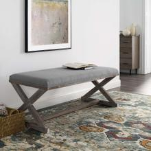 Province Vintage French X-Brace Upholstered Fabric Bench in Light Gray