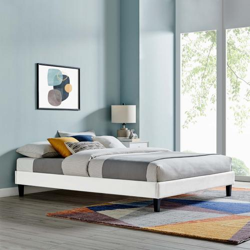 Reign King Performance Velvet Platform Bed Frame in White