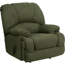 Contemporary Glacier Olive Microfiber Chaise Rocker Recliner