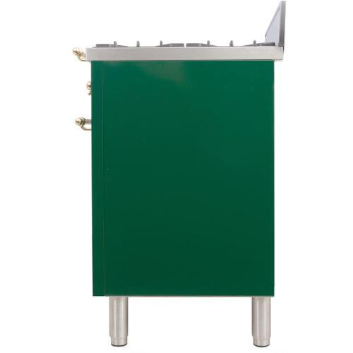 Nostalgie 30 Inch Gas Liquid Propane Freestanding Range in Emerald Green with Brass Trim