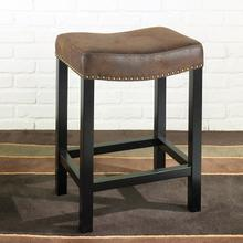 Tudor Backless 26 Stationary Barstool Covered In A Wrangler Brown Fabric with Nailhead Accents Mbs-013