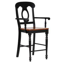 See Details - Napoleon Barstools w/Arms - Antique Black and Cherry (Set of 2)