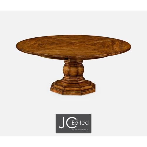Country walnut circular dining table with self-storing leaves