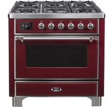 View Product - Majestic II 36 Inch Dual Fuel Natural Gas Freestanding Range in Burgundy with Chrome Trim